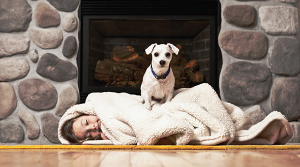 Girl and dog fireplace