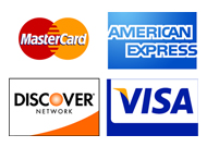 We accept major Credit Cards: American Express, Discover, Master card and Visa