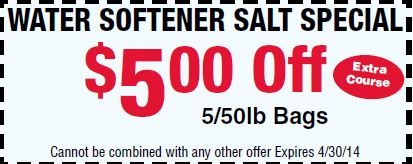 Save $5 on Our Water Softener Salt Special
