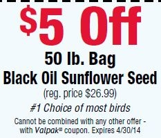 $5 Off Black Oil Sunflower Seed