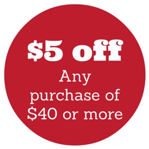 $5.00 off any purchase of $40 or more