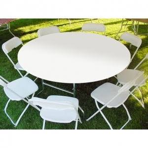 "Kwik-Covers  60"" Round White Tablecover"