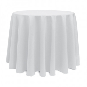 WHITE POLYESTER TABLECLOTH 108