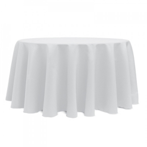 """WHITE POLYESTER TABLECLOTH 120"""" ROUND"""