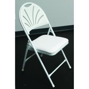 White Vinyl Padded Fanback Chair