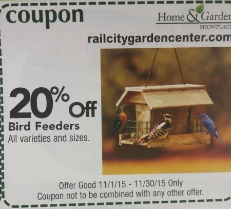 Calendar Coupon: 20% off Bird Feeders