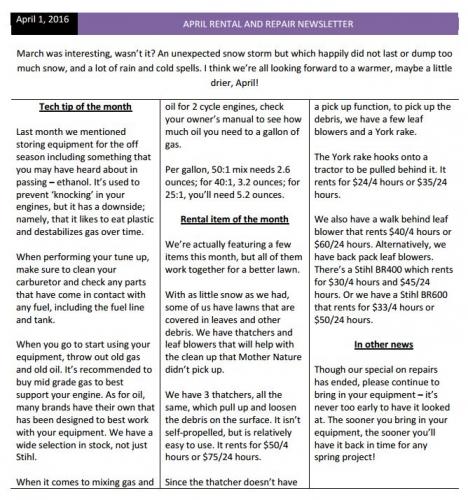 April Rental and Repair Newsletter