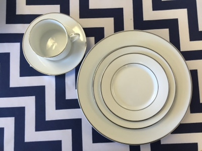 White with Silver Rim Dinnerware Collection