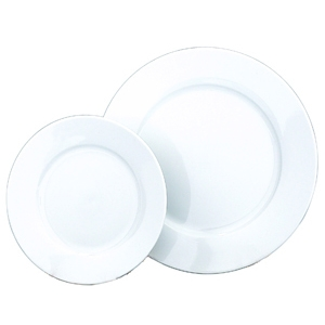 "Progressive Pro. 10 3/4"" Wide Rim, White  Dinner Plate"