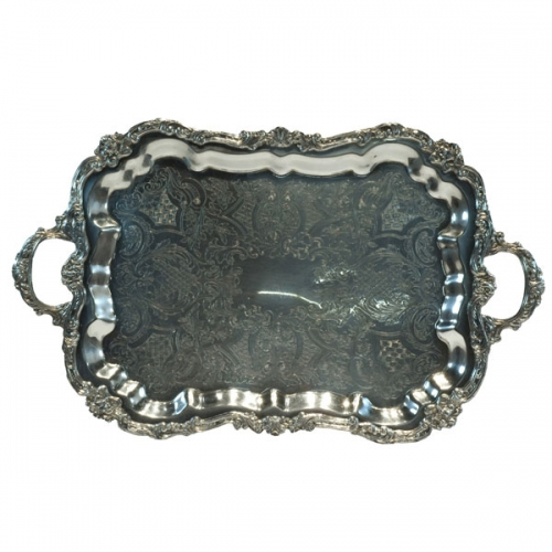 Silver Large Rectangle Tray